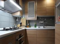 欧式风格简约风格公寓浪漫原木色豪华型厨房橱柜设计图效果图
