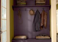 鄉村別墅收納整齊的紫色玄關空間效果圖