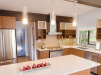原木色四居室白色原木混搭现代简约厨房效果图