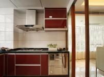 欧式风格公寓原木色豪华型厨房橱柜订做效果图