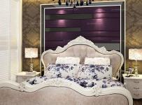紫色背景墙欧式卧室紫色卧室背景墙时尚不失优雅的混搭风格卧房设计效果图