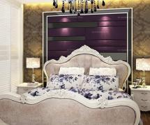 紫色背景墻歐式臥室紫色臥室背景墻時尚不失優雅的混搭風格臥房設計效果圖