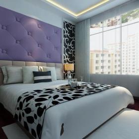 現代臥室背景墻臥室紫色背景墻效果圖