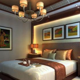 原木色61-90平米二居室东南亚风格优雅卧室床装修设计效果图