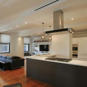 时尚现代简约风格公寓温馨原木色开放式厨房装修效果图
