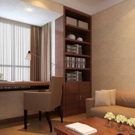 原木色61-90平米現代簡約二居室現代風格陽臺書桌裝修效果圖
