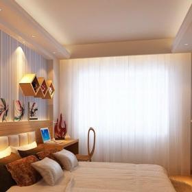 日式风格日式原木色卧室背景墙设计效果图