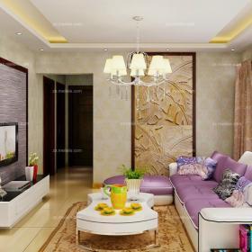 90㎡吊灯单身公寓茶几紫色优雅现代风格客厅效果图