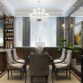 原木色歐式風格家裝餐廳酒柜設計裝修效果圖