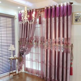 紫色提花窗簾效果圖