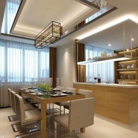 原木色91-120平米日韩三居室原木日式风格简约范厨房餐桌组合柜装修效果图