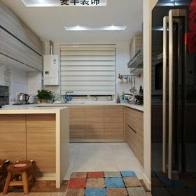 簡約風格復式原木色富裕型廚房櫥柜訂做
