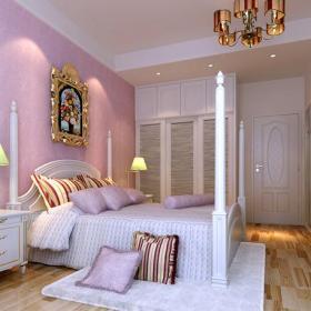 歐式田園風格臥室實木床圖片紫色臥室背景墻紙裝修圖片效果圖大全