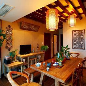 原木色中式餐厅三居室124㎡气质中式风格餐厅装修效果图