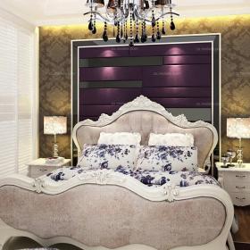 紫色背景墻歐式臥室紫色臥室背景墻時尚不失優雅的混搭風格臥房設計效果圖大全