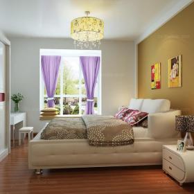 紫色窗簾飄窗燈飾現代單身公寓臥室床簡約寫意臥房設計還心靈一方凈土效果圖欣賞
