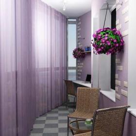 田園紫色陽臺改造而成的茶座和書房裝修效果圖