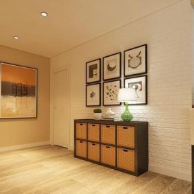 原木色白色東南亞玄關三居室東南亞風格藝術家居玄關組合柜設計效果圖