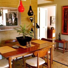 简约风格一居室简洁原木色经济型餐厅餐厅背景墙灯具海外家居效果图