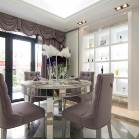 紫色白色歐式風格餐廳裝修圖片效果圖大全