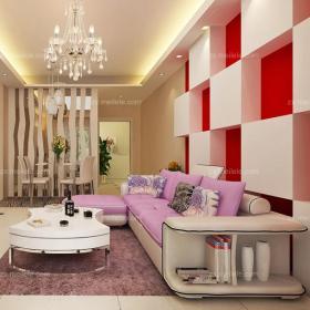 紫色80㎡創意生活用品茶幾小戶型客廳沙發現代風格設計效果圖,從質感開始