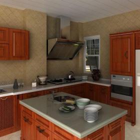 簡約廚房三居室原木色簡約開放式廚房效果圖
