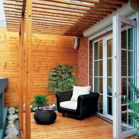 120㎡實木家具原木色建材讓陽臺更貼近自然裝修效果圖