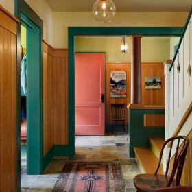 原木色201平米以上別墅活潑另類歐美風格走廊實景效果圖