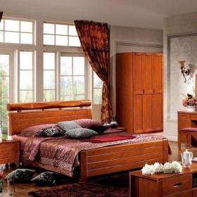 中式卧室中式风格四居室原木色卧室梳妆台效果图