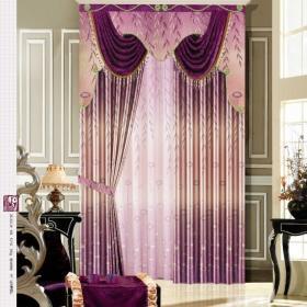 歐式紫色窗簾效果圖