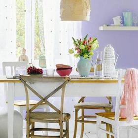 紫色小戶型餐廳餐桌餐椅80㎡誰說浪漫不能與風情并存效果圖