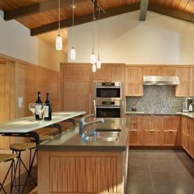 91-120平米三居室U型原木色简欧厨房装修效果图