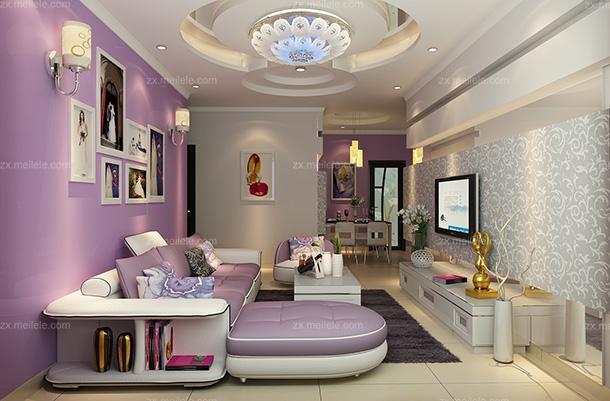 紫色吊顶隔断80㎡吊顶茶几沙发二居单身公寓银、紫色打造全新现代风格客厅家装效果图大全