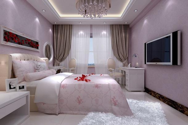 电视背景墙吊顶混搭卧室紫色装修效果图