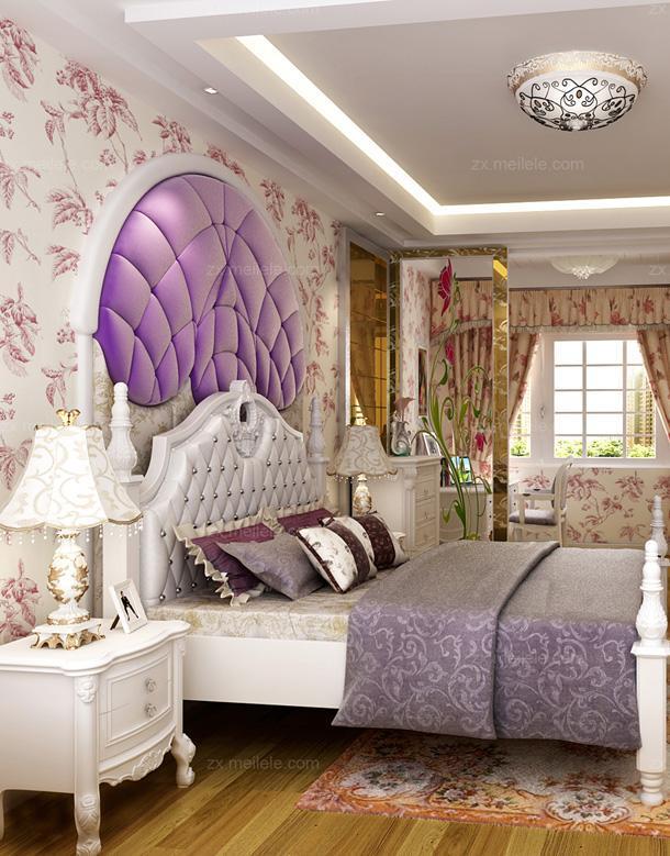 紫色背景墙紫色卧室背景墙华丽唯美欧式田园卧室装修效果图