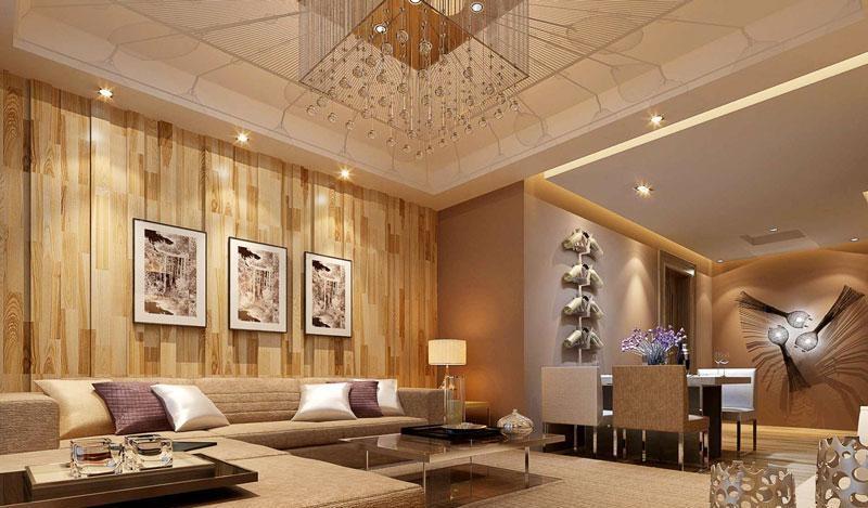 客厅沙发古典大气原木色沙发背景墙设计效果图