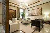 200平大气新中式别墅之客厅整体效果图