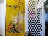 雕花隔断黄色大户型110㎡东南亚玄关分隔出居室的完美空间效果图欣赏