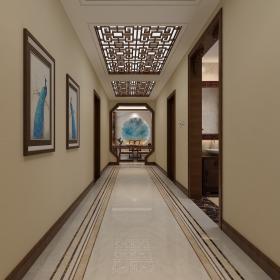 183㎡中式三居之走廊過道裝修效果圖