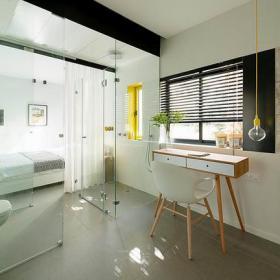 清新現代公寓臥室工作區圖片
