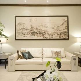 200平大氣新中式別墅之沙發背景墻裝飾畫效果圖