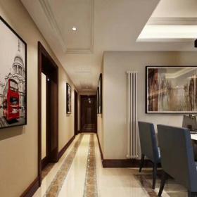 輕奢簡約中式風三居之走廊裝飾畫效果圖