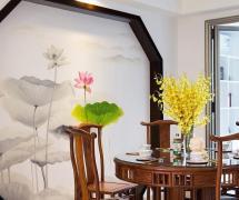 新中式餐厅背景墙设计效果图