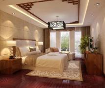 180平米三居室新中式风格卧室吊顶装修效果图