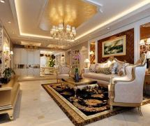 150平米三居室欧式风格客厅 沙发背景墙装修效果图