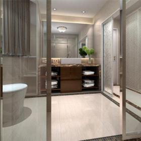 現代簡約二居室衛生間瓷磚裝修圖片