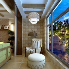 东南亚风格三居室阳台窗帘装修效果图欣赏