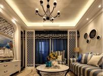 墙面装饰家具沙发窗帘吊灯茶几混搭别墅客厅侧面整体装修效果图