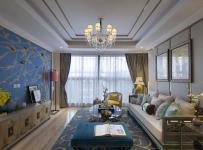 落地灯地柜沙发吊灯茶几电视柜混搭蓝色客厅电视背景墙装修图片效果图大全