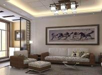 80平現代中式客廳沙發背景墻門窗裝修設計圖效果圖